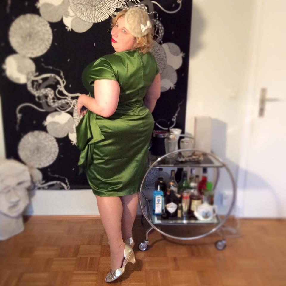 Miss Kittenheel vintage plussize style PinUp Girl Clothing PUG Ava Green Wiggle Satin