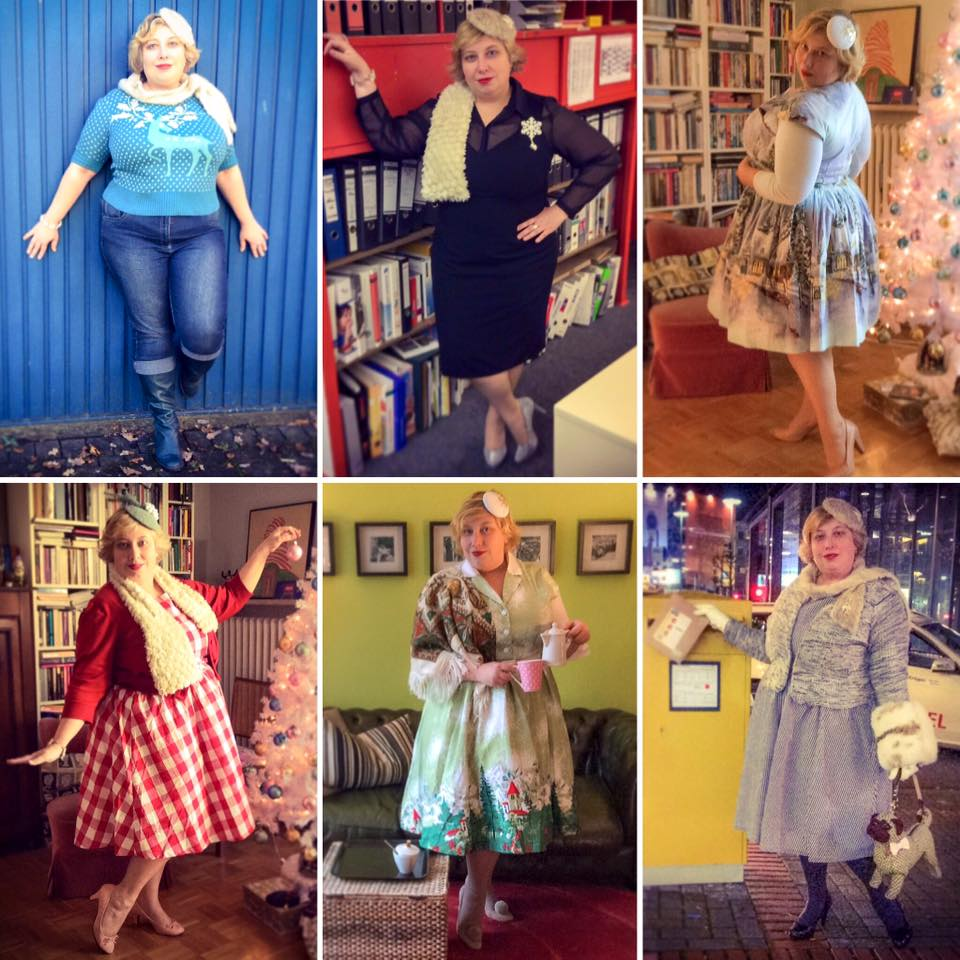Miss Kittenheel vintage plussize style  christmas outfits