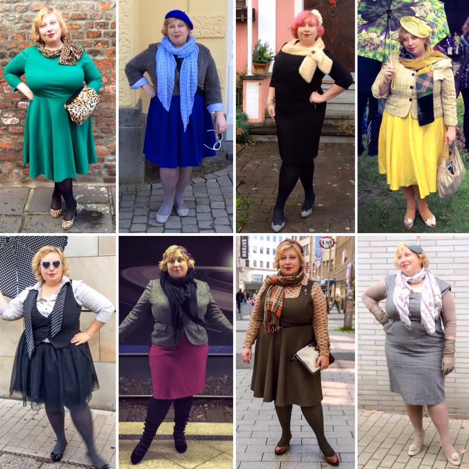 MissKittenheel plussize vintage style neutral outfits 2015