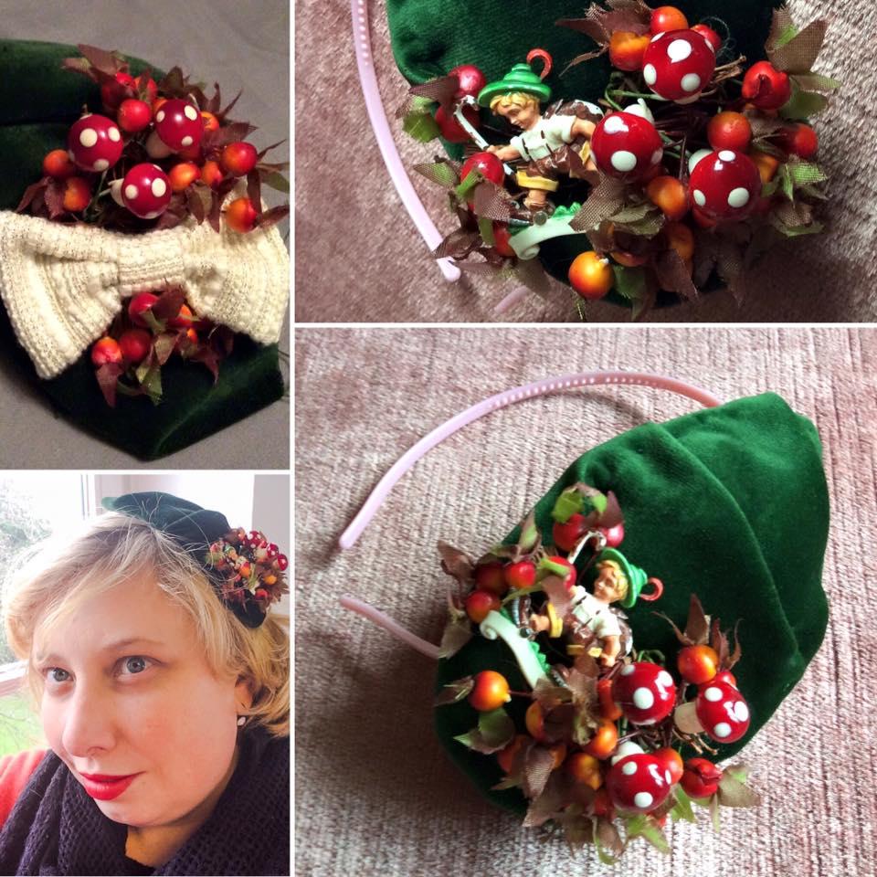 misskittenheel vintage curvy plussize diyyourcloset fascinator 2015 hat forest kitsch