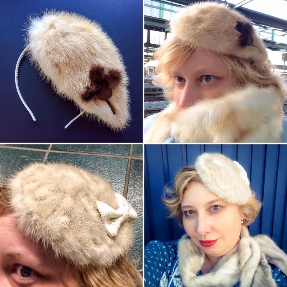 misskittenheel vintage curvy-plussize-diyyourcloset-fascinator 2015 -hat fur mink