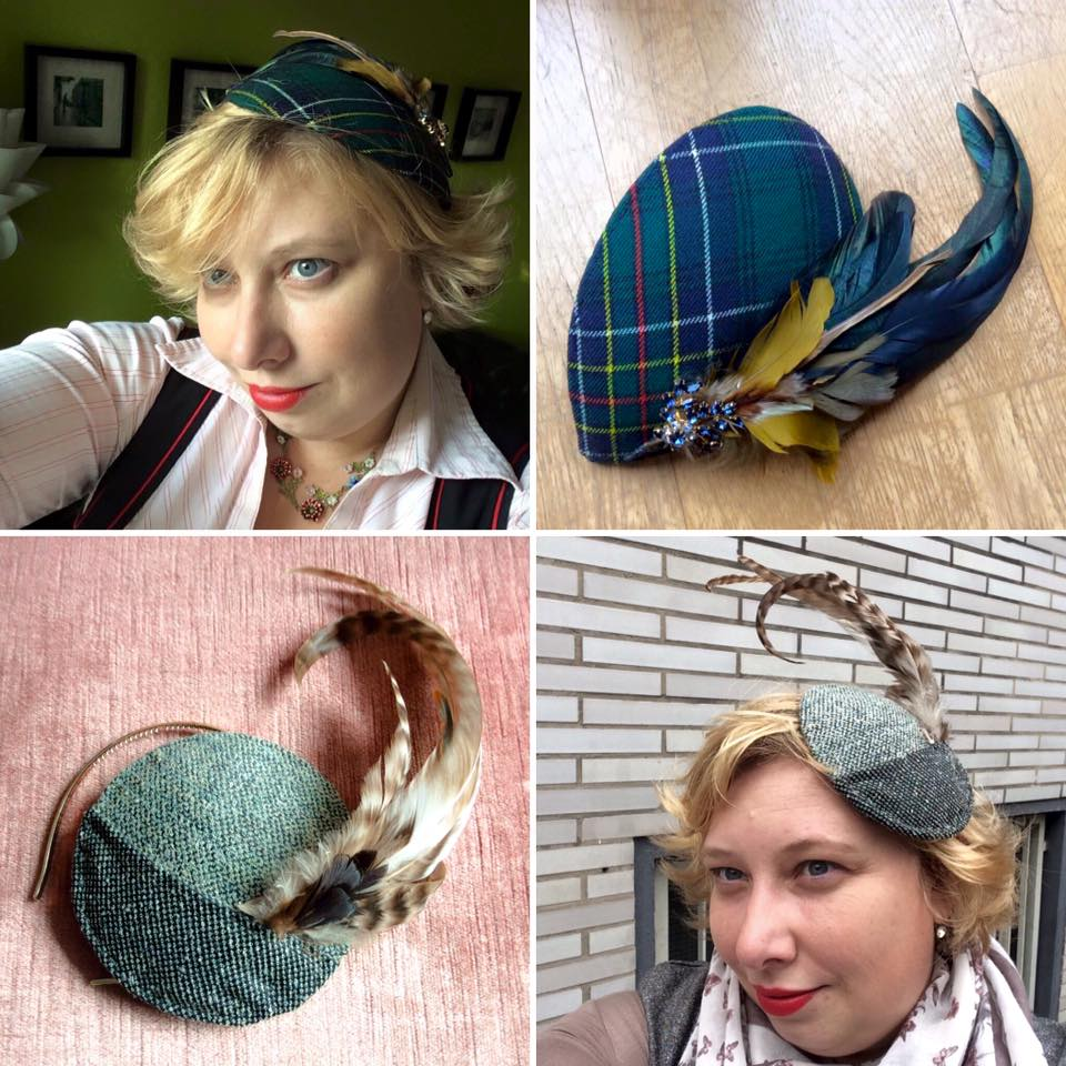 misskittenheel vintage curvy plussize diyyourcloset-fascinator-2015-hat-tweed-hunting tartan oktoberfesttrachten feathers